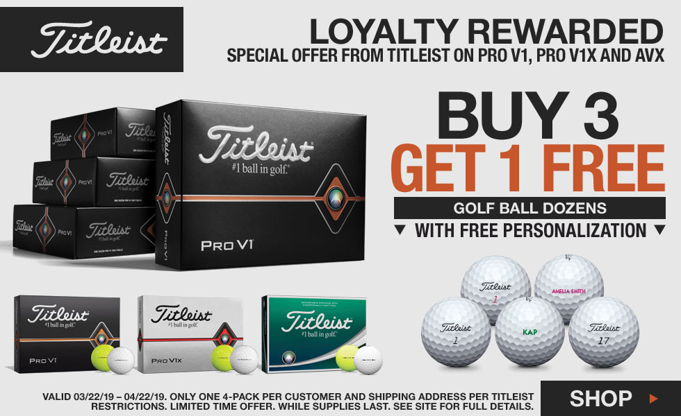 Loyalty Rewarded - Titleist Buy 3 Dozen, Get 1 Free Pro V1 Personalized Balls - Limited Time Offer