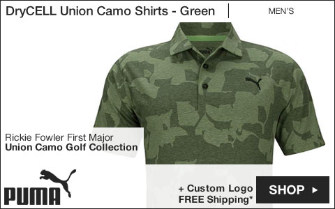 PUMA DryCELL Union Camo Golf Shirts - Green - Rickie Fowler First Major