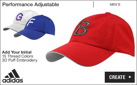 Adidas 'Your Initial' Performance Adjustable Golf Hats