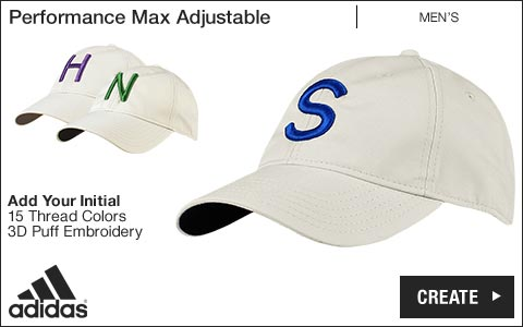 Adidas 'Your Initial' Performance Max Adjustable Golf Hats