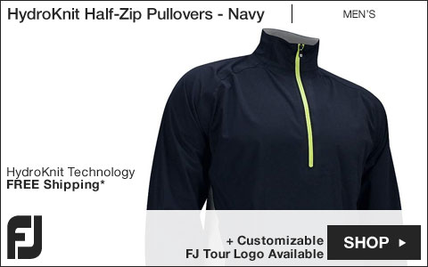 FJ HydroKnit Half-Zip Golf Pullovers - Navy - FJ Tour Logo Available
