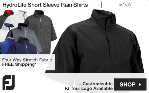 FJ HydroLite Short Sleeve Golf Rain Shirts - FJ Tour Logo Available
