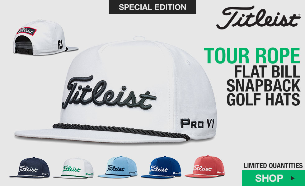 Titleist Tour Rope Flat Bill Snapback Adjustable Golf Hats - Special Edition