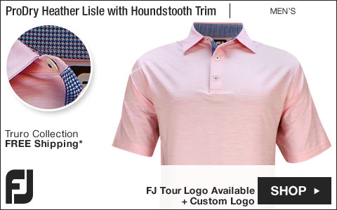 FJ ProDry Heather Lisle Solid with Houndstooth Trim Golf Shirts - Truro Collection - FJ Tour Logo Available