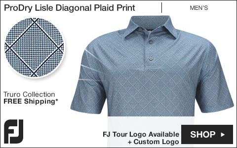 FJ ProDry Lisle Diagonal Plaid Print Golf Shirts - Truro Collection - FJ Tour Logo Available