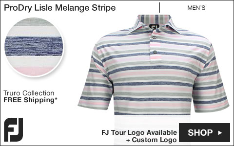 FJ ProDry Lisle Melange Stripe Golf Shirts - Truro Collection - FJ Tour Logo Available