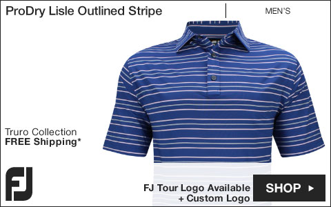FJ ProDry Lisle Outlined Stripe Golf Shirts - Truro Collection - FJ Tour Logo Available