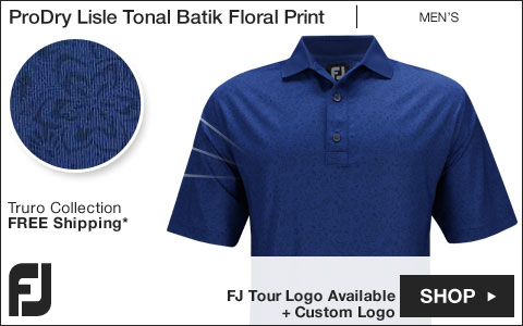 FJ ProDry Lisle Tonal Batik Floral Print Golf Shirts - Truro Collection - FJ Tour Logo Available