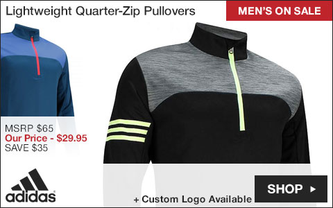 Adidas Lightweight Quarter-Zip Golf Pullovers - ON SALE