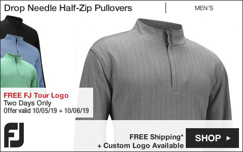 FJ Drop Needle Half-Zip Golf Pullovers with Gathered Waist - FREE FJ Tour Logo Available