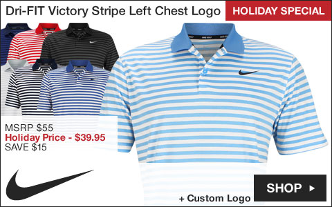 Nike Dri-FIT Victory Stripe Left Chest Logo Golf Shirts