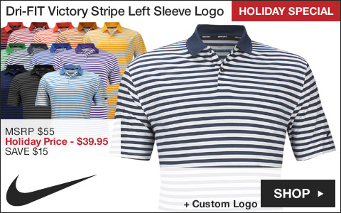 Nike Dri-FIT Victory Stripe Left Sleeve Logo Golf Shirts