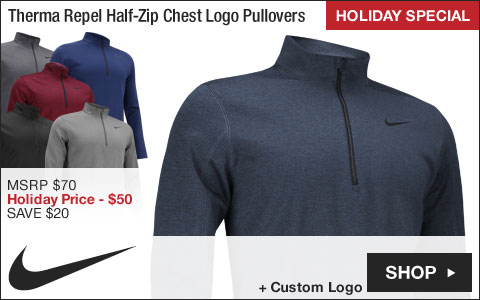 Nike Therma Repel Half-Zip Chest Logo Golf Pullovers