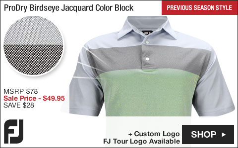 FJ ProDry Birdseye Jacquard Color Block Golf Shirts - Montauk Collection - FJ Tour Logo Available - Previous Season Style