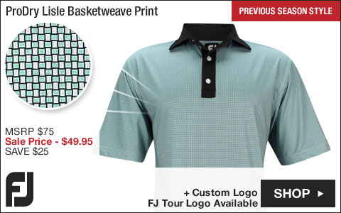 FJ ProDry Lisle Basketweave Print Golf Shirts - Wilmington Collection - FJ Tour Logo Available - Previous Season Style - ON SALE