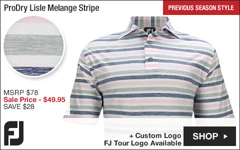 FJ ProDry Lisle Melange Stripe Golf Shirts - Truro Collection - FJ Tour Logo Available - Previous Season Style