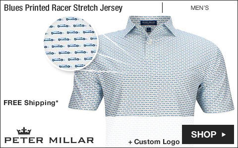 Peter Millar Crown Crafted Blues Printed Open-Wheel Racer Stretch Jersey Golf Shirts - Tour Fit