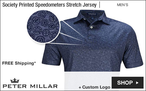 Peter Millar Crown Crafted Society Printed Speedometers Stretch Jersey Golf Shirts - Tour Fit
