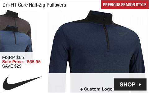 Nike Dri-FIT Core Half-Zip Golf Pullovers - ON SALE