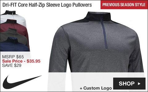 Nike Dri-FIT Core Half-Zip Sleeve Logo Golf Pullovers - ON SALE