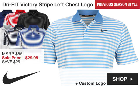 Nike Dri-FIT Victory Stripe Left Chest Logo Golf Shirts - Previous Season Style