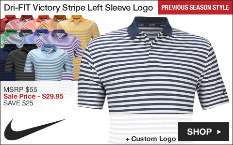 Nike Dri-FIT Victory Stripe Left Sleeve Logo Golf Shirts - Previous Season Style