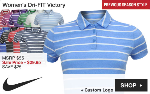 Nike Women's Dri-FIT Victory Stripe Golf Shirts - Previous Season Style