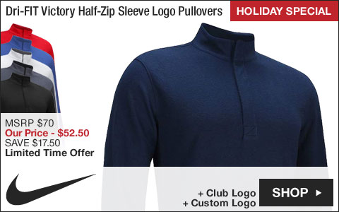 Nike Dri-FIT Victory Half-Zip Sleeve Logo Golf Pullovers - HOLIDAY SPECIAL