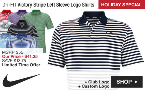 Nike Dri-FIT Victory Stripe Left Sleeve Logo Golf Shirts - HOLIDAY SPECIAL