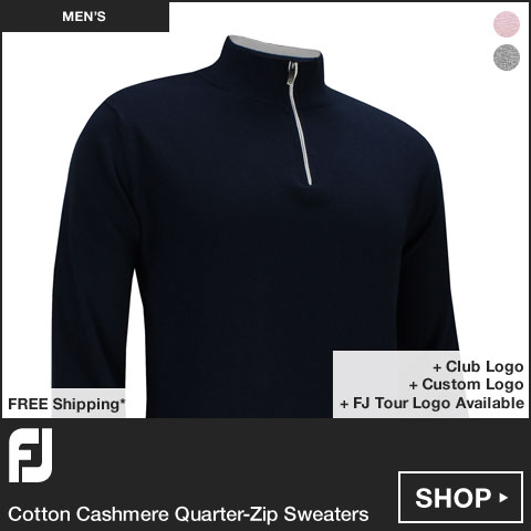 FJ Cotton Cashmere Quarter-Zip Golf Sweaters - FJ Tour Logo Available