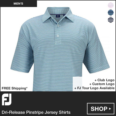 FJ Dri-Release Pinstripe Jersey Golf Shirts - FJ Tour Logo Available