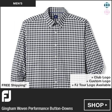 FJ Gingham Woven Performance Button-Downs - FJ Tour Logo Available