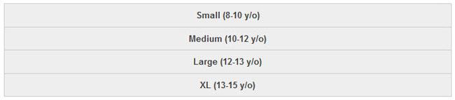 Footjoy Junior Golf Apparel Size Chart