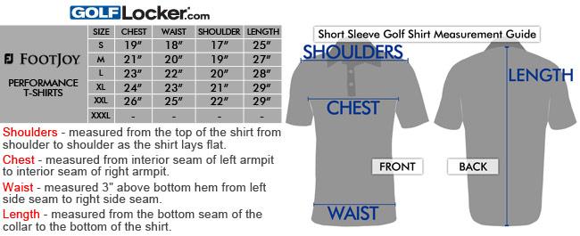 5b6a28563 FootJoy Performance Golf T-Shirts Size Chart