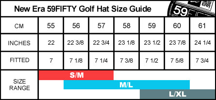 New Era 59FIFTY Men's Golf Hat Size Guide