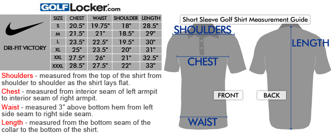 Nike womens golf shirt size chart