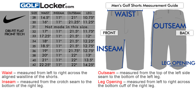 Nike dri fit flat front tech golf shorts size chart