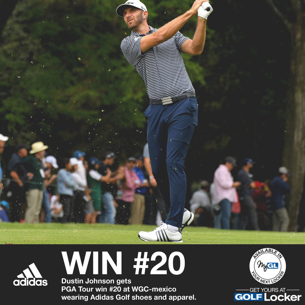 Dustin Johnson Get PGA Tour Win #20 Wearing Adidas Golf Shoes and Apparel