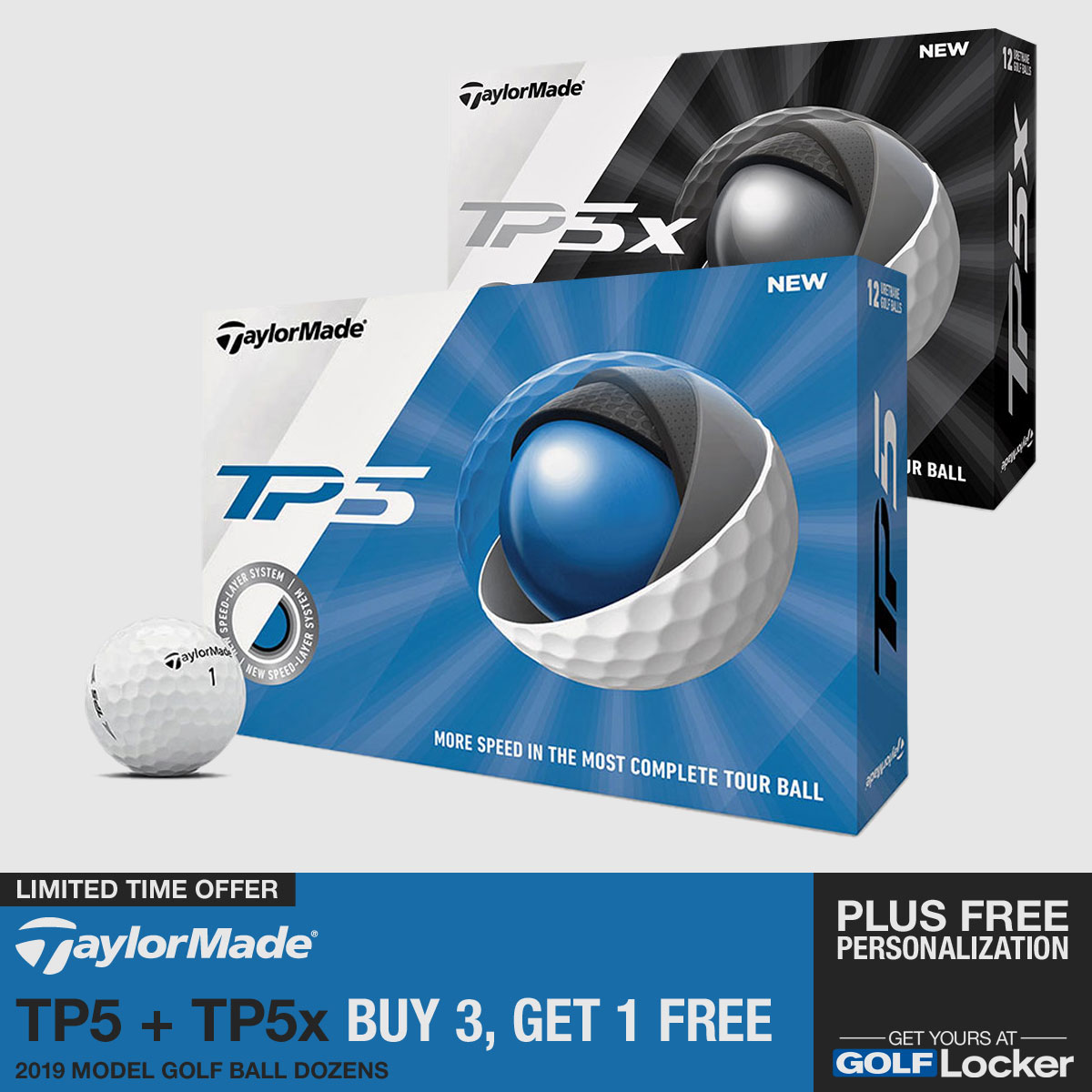 TaylorMade TP5 + TP5x Balls - Buy 3, Get 1 Free