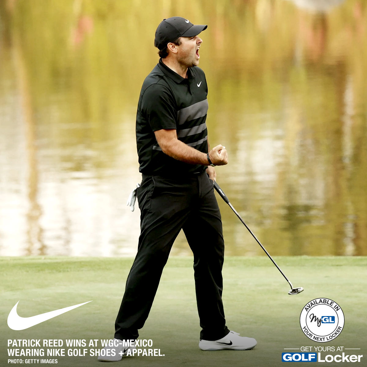 Patrick Reed wins the WGC-Mexico Championship wearing Nike Golf shoes and apparel.