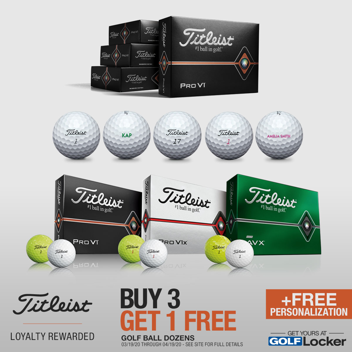 Titleist Buy 3 Dozen, Get 1 Free Personalized Balls