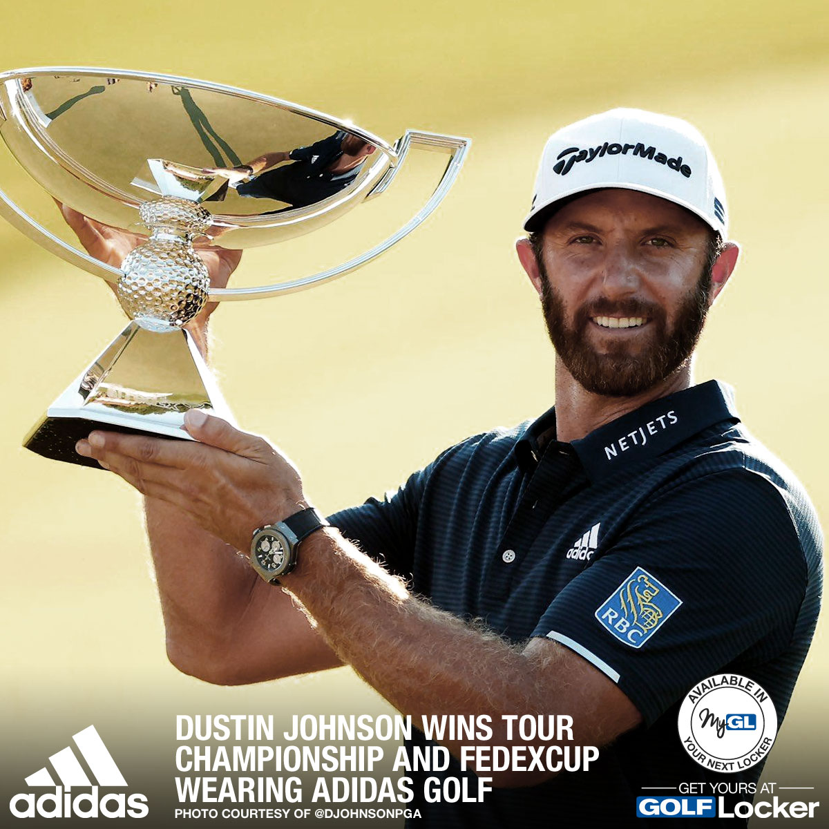 Dustin Johnson wins the 2020 TOUR Championship and FedExCup Wearing Adidas Golf