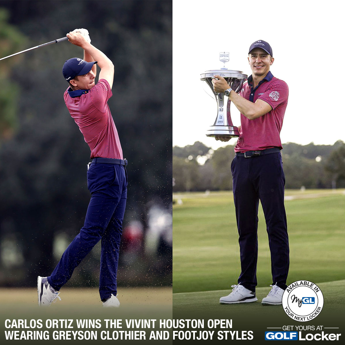 Carlos Ortiz Wins the Vivint Houston Open Wearing Greyson Clothier and FootJoy Golf Styles