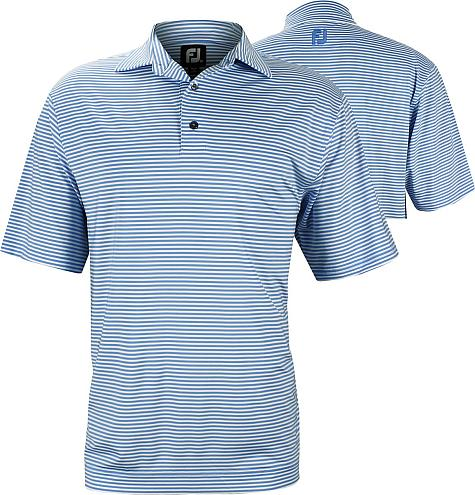 FootJoy ProDry Lisle Feeder Stripe Self Collar Golf Shirts - FJ Tour Logo Available