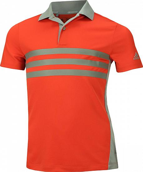 abd4c7581 Adidas 3-Stripe Chest Print Junior Golf Shirts - ON SALE