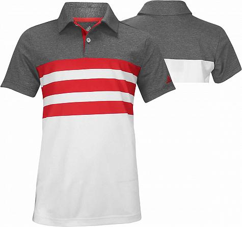 2d929a7e9 Adidas 3-Stripe Block Junior Golf Shirts - ON SALE