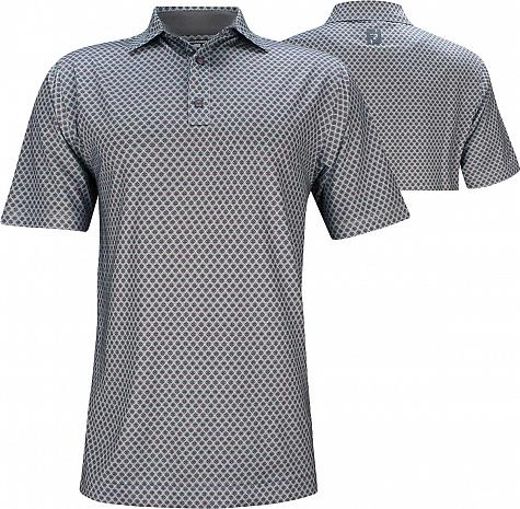 Footjoy Athletic Fit Lisle Foulard Print Self Collar Grey