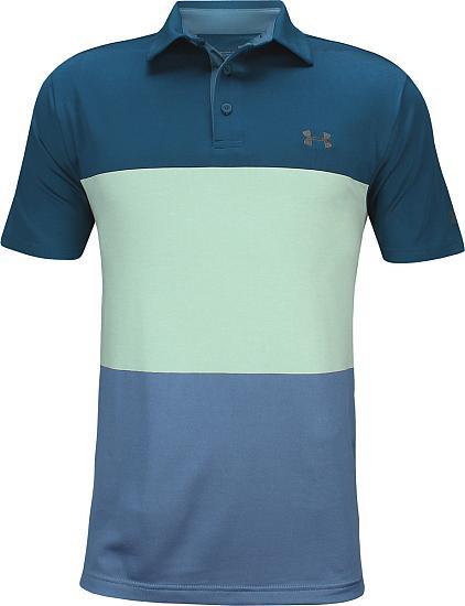 f0e462036ba17a Under Armour Playoff 2.0 Heritage Blocked Golf Shirts - Petrol