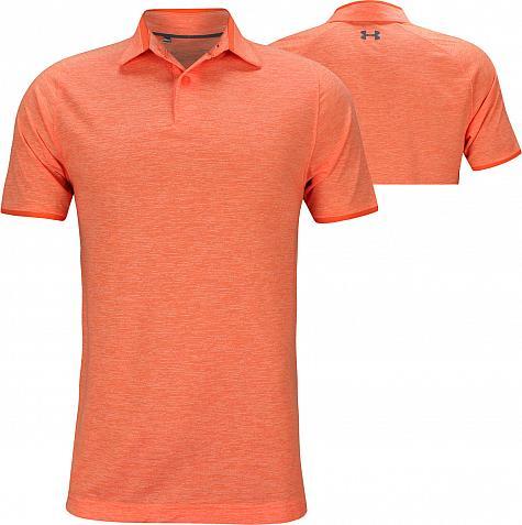 51b0fcbafd8cc2 Under Armour Tour Tips Streaker Golf Shirts - Papaya - Jordan Spieth PGA  Championship Thursday