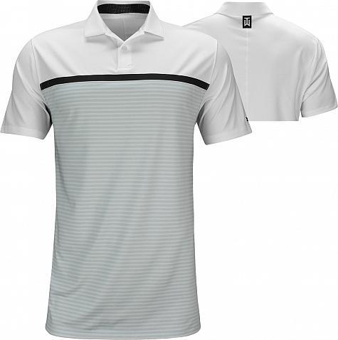 b969b0f8 Nike Dri-FIT Tiger Woods Vapor Stripe Block Golf Shirts - White - Tiger  Woods PGA Championship - Saturday
